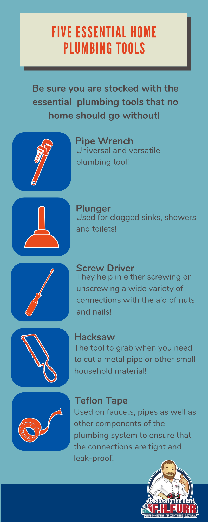 five essential home plumbing tools